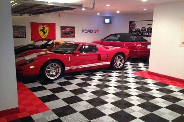 garage flooring tiles Jacksonville black red