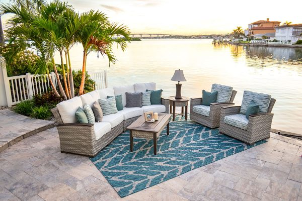 outdoor patio furniture adair curved sectional and chairs